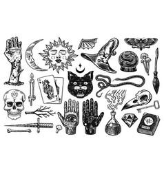 Mystical magic boho elements witchcraft vector