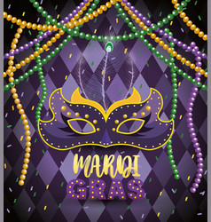 Necklace balls with mask to celebrate mardi gras vector