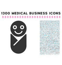 Newborn icon with 1300 medical business icons vector