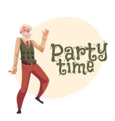 Old man dancing cartoon invitation banner vector