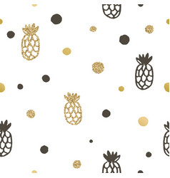 Pineapple and dots seamless pattern vector