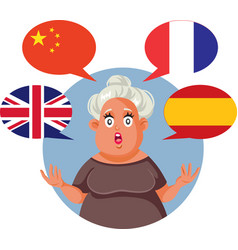 Polyglot woman speaking english chinese french vector