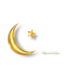 Ramadan kareem 2021 gold crescent moon golden star vector