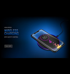realistic transparent smartphone charging battery vector image
