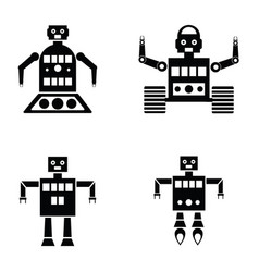 robot icons set vector image