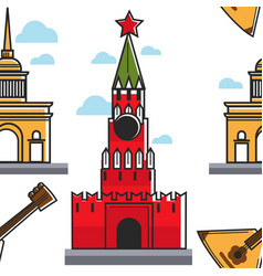 Russian architecture and music seamless pattern vector