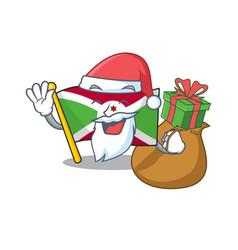 Santa with gift flag burundi cartoon character vector