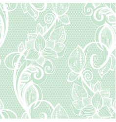 Seamless pattern white lace on mint green vector