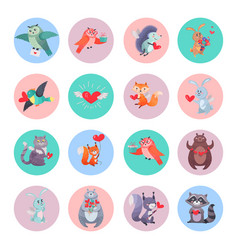 Set animals with hearts valentines day concept vector