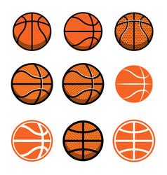 set basketball balls isolated on white vector image