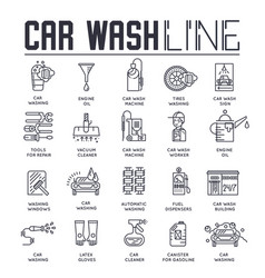 set car wash and repair services thin line vector image