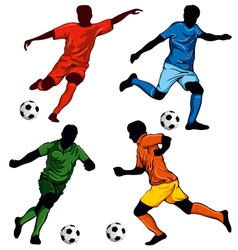 set four soccer players vector image