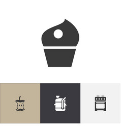 set of 4 editable cooking icons includes symbols vector image