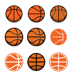 Set of basketball balls isolated on white vector