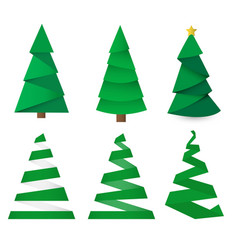 set of christmas trees made from paper origami vector image