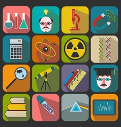 Set of flat science icons on a color background vector