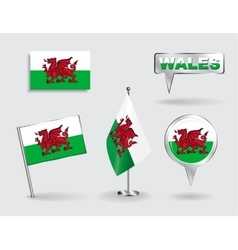 Set of Welsh pin icon and map pointer flags vector