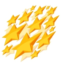 Shiny golden stars falling on white background vector