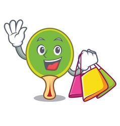Shopping ping pong racket character cartoon vector