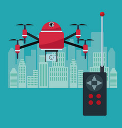 silhouette city landscape with remote control and vector image