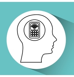 Silhouette head cellphone wifi icon vector