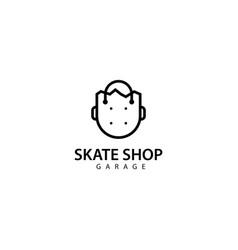 Skateboard store logo design icon vector