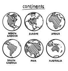 Sketch drawing continents vector
