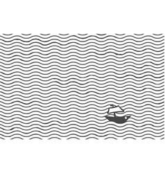 Sketch tiny boat in ocean - striped wavy vector