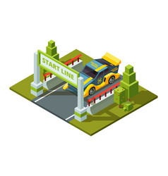 start race cars isometric sport pictures in vector image