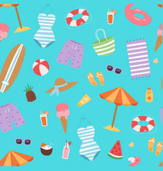 summer beach seamless pattern with umbrella cocos vector image