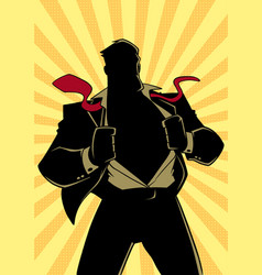 Superhero under cover suit ray light silhouette vector