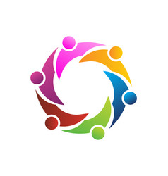 teamwork people together logo vector image