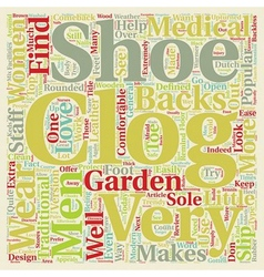 The men and women s clog in review text background vector