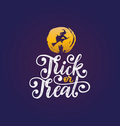 trick or treat hand lettering for halloween vector image