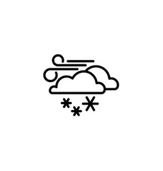 web icon wind clouds and snow black on white vector image