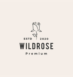 wild rose flower hipster vintage logo icon vector image