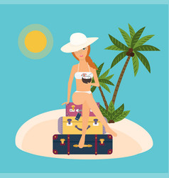 Woman sits on suitcases with cocktail in hand vector