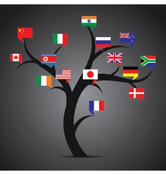 world country flag tree vector image