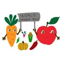 world vegan day international november holiday vector image