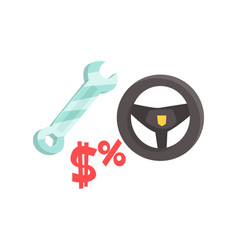 black steering wheel and spanner car service vector image vector image