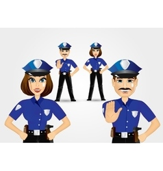 Confident policeman and policewoman vector