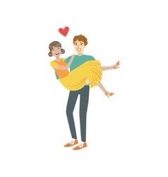 Couple in love man holding woman in arms vector
