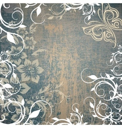 grunge background with floral pattern vector image vector image