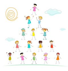 kid forming pyramid vector image vector image