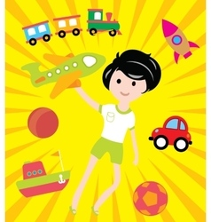 Kids dreams with many toys and transport vector image vector image