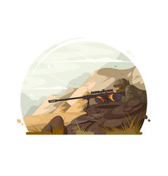 military sniper lies in wait vector image