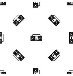 vintage tape recorder pattern seamless black vector image