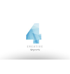 4 four blue polygonal number logo icon design vector image