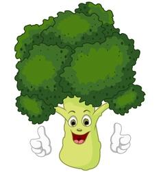 cartoon broccoli giving thumbs up vector image