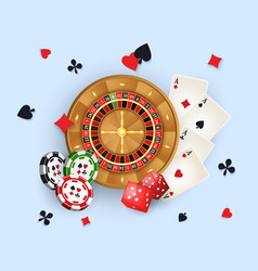 casino banner with tokens roulette wheel cards vector image